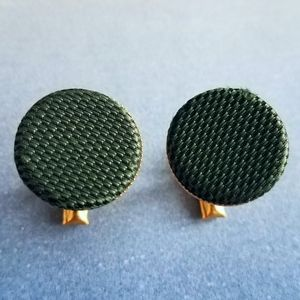 Vintage green woven look cuff links gold tone
